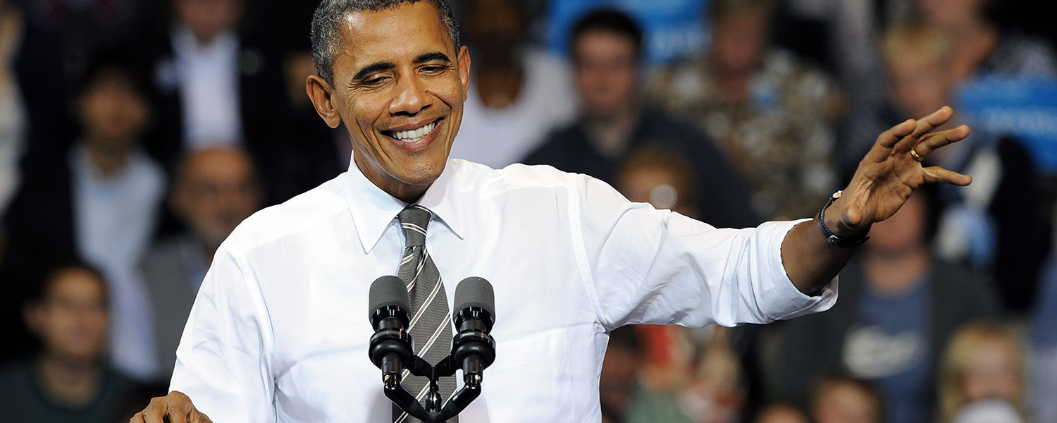 President Barack Obama makes a point during his speech in the MAC Center at Kent State University.