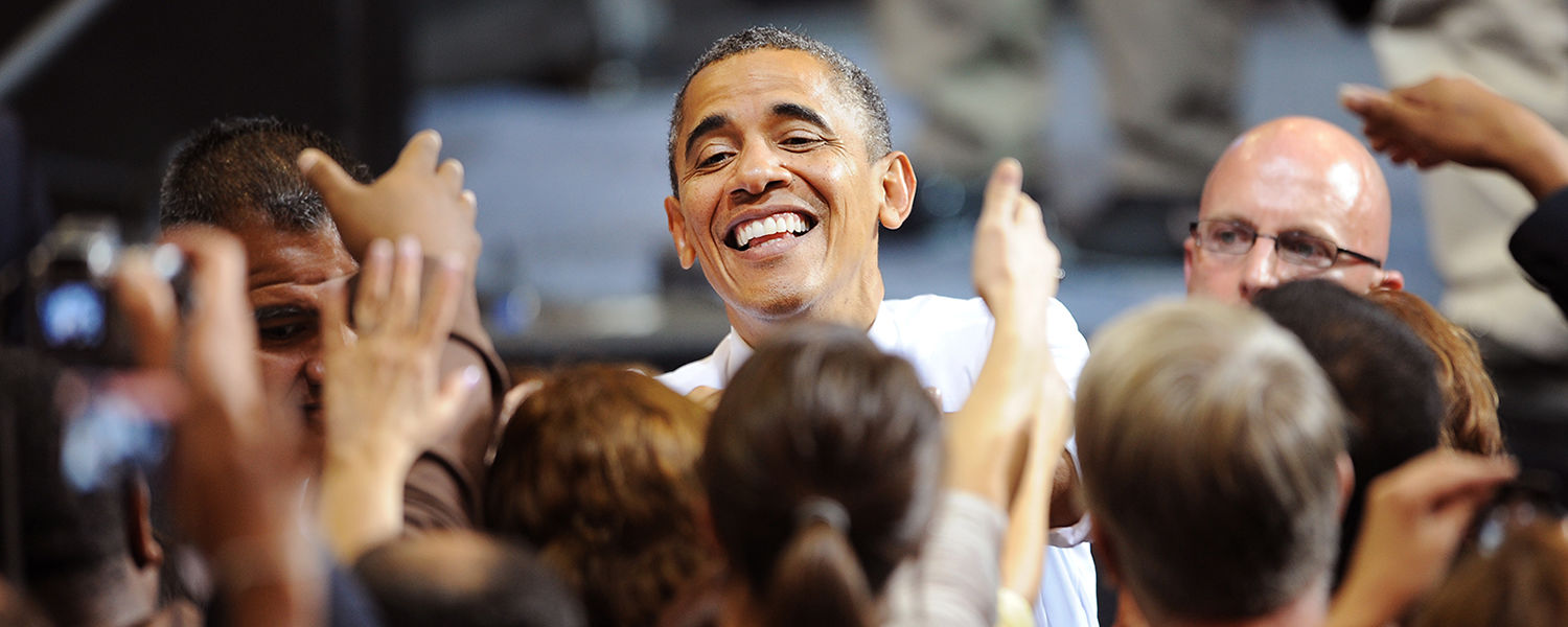 President Obama shakes hands with supporters after his speech in the MAC Center.