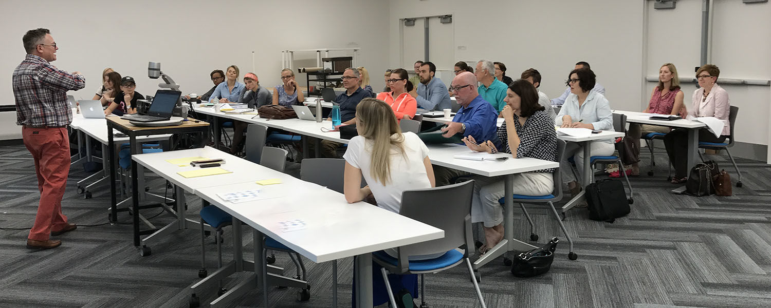 Assistant Professor Aaron Bacue leads a training for part-time instructors and graduate students who will teach Introduction to Human Communication.