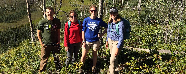 The team in Alaska is (left to right) Jonathan Mills, undergraduate geology major; Kiersten Duroe, geology M.S. candidate; Elizabeth Herndon, Ph.D., assistant professor of geology; and Lauren Kinsman-Costello, Ph.D., assistant professor of biology.
