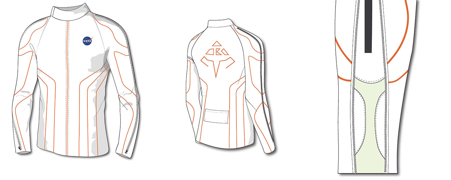 The ATR_FLUX telesuit design features include different types of fabrics that stretch and support the piping for the inserted biometric data sensors that monitor the user's muscle groups.