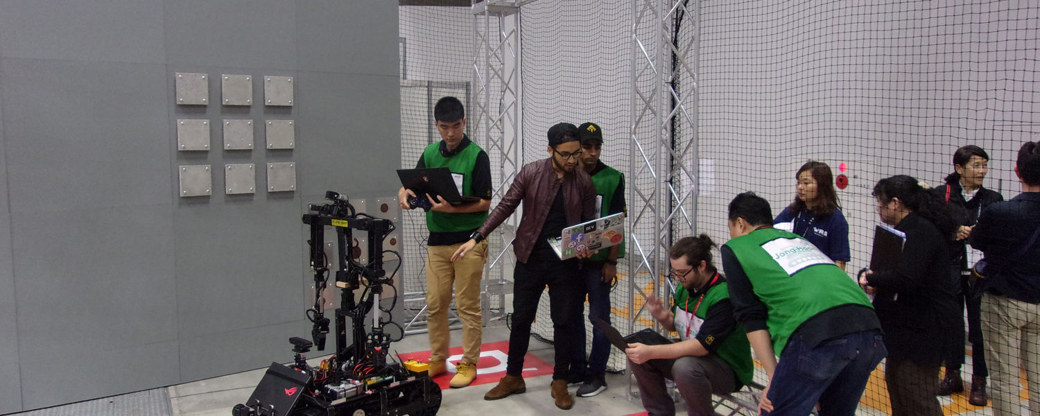 Students from the ATR Lab prepare for the competition in Tokyo.
