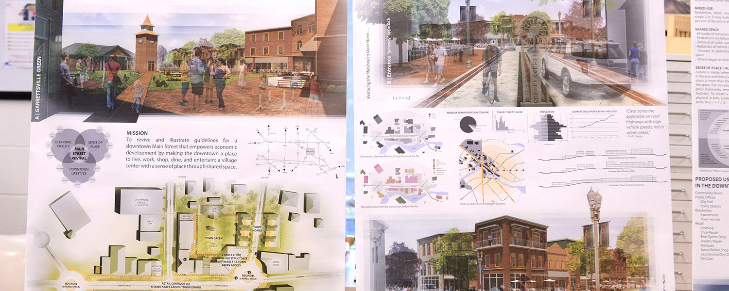 Shown is one of the proposals developed by Kent State's College of Architecture and Environmental Design students. The students reimagined Garrettsville following a fire that swept through the historic downtown commercial area.