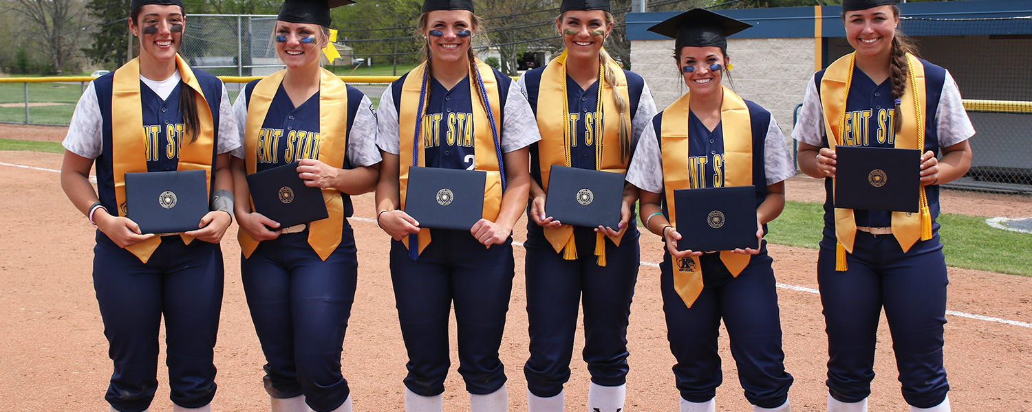 Six members of the Kent State softball team are honored prior to the game against the University of Akron. The student-athletes are part of the university's graduating Class of 2016.
