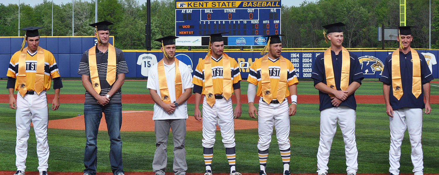 Graduating student-athletes from the Kent State baseball team are honored prior to a game.