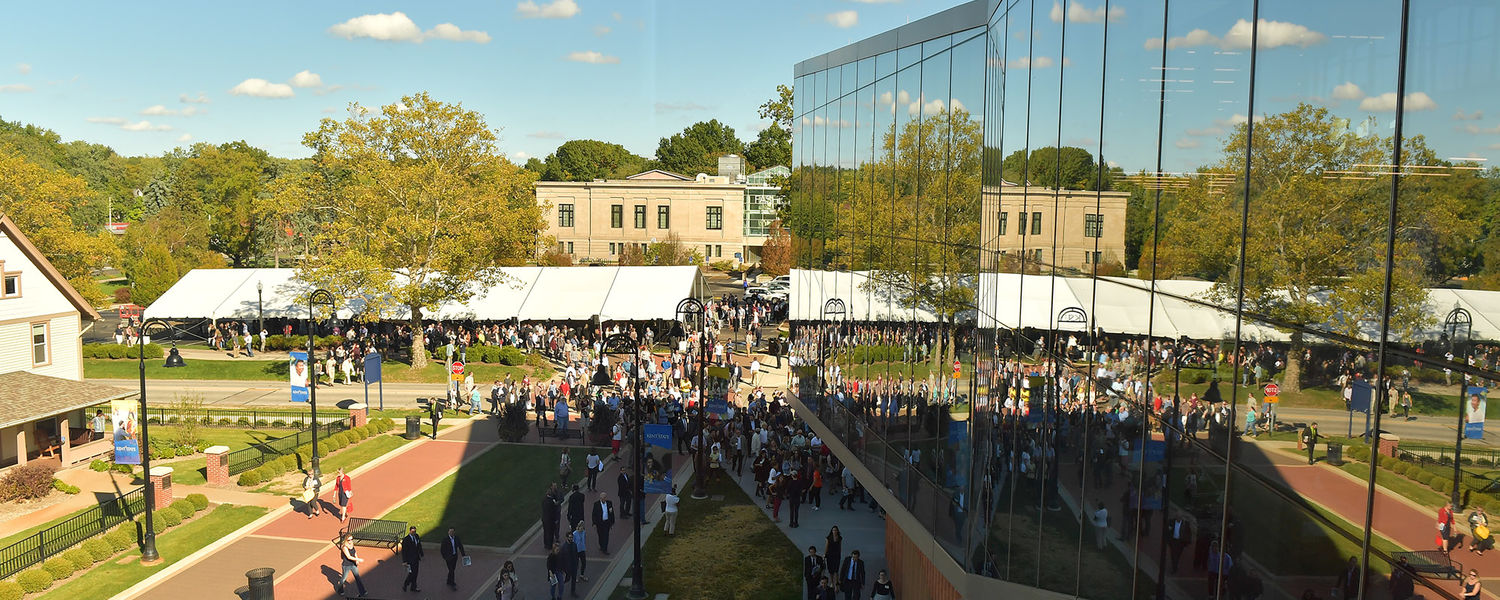 Pictured is the view of the building dedication as seen from the second floor of the Center for Architecture and Environmental Design at Kent State.