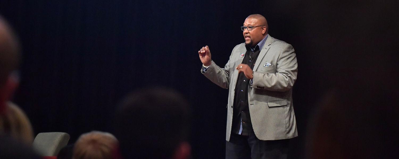 Keynote speaker David Anderson addresses the crowd during Kent State's 2017 Martin Luther King Jr. Celebration in the Kent Student Center Ballroom.