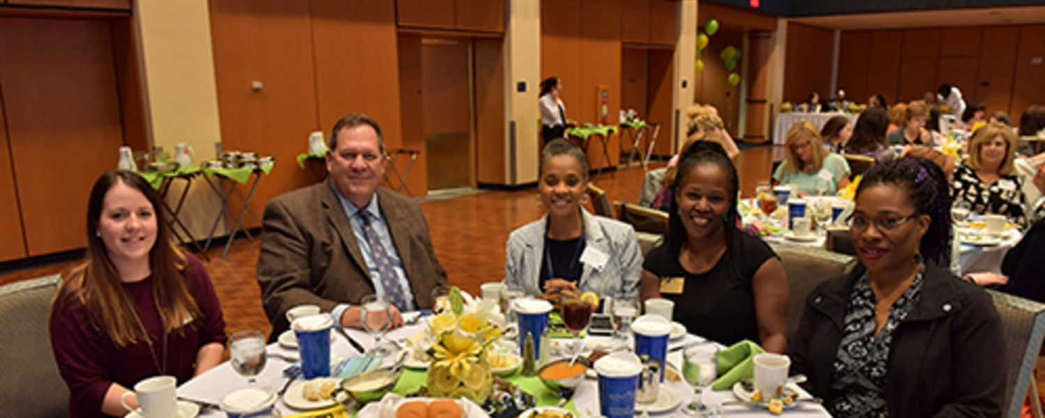 Office Support Staff Recognition Luncheon 2017- VP Mahon and staff members at table