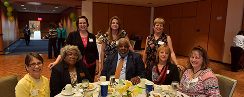 Office Support Staff Recognition Luncheon 2017- Angie, Barbara, Peta, Chris, VP Walker, Judy, Frieda, Chris