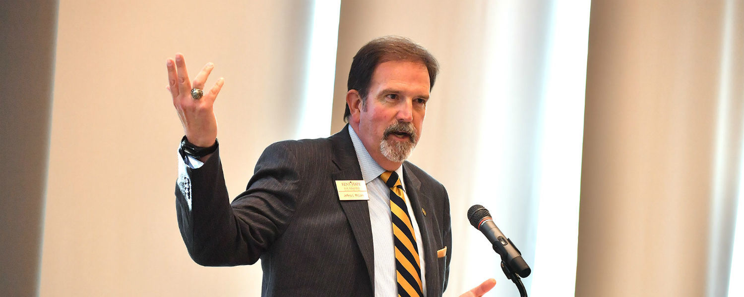 Jeff McLain, Kent State's vice president for institutional advancement, introduces a speaker during the grand opening of the university's new Center for Philanthropy and Alumni Engagement.