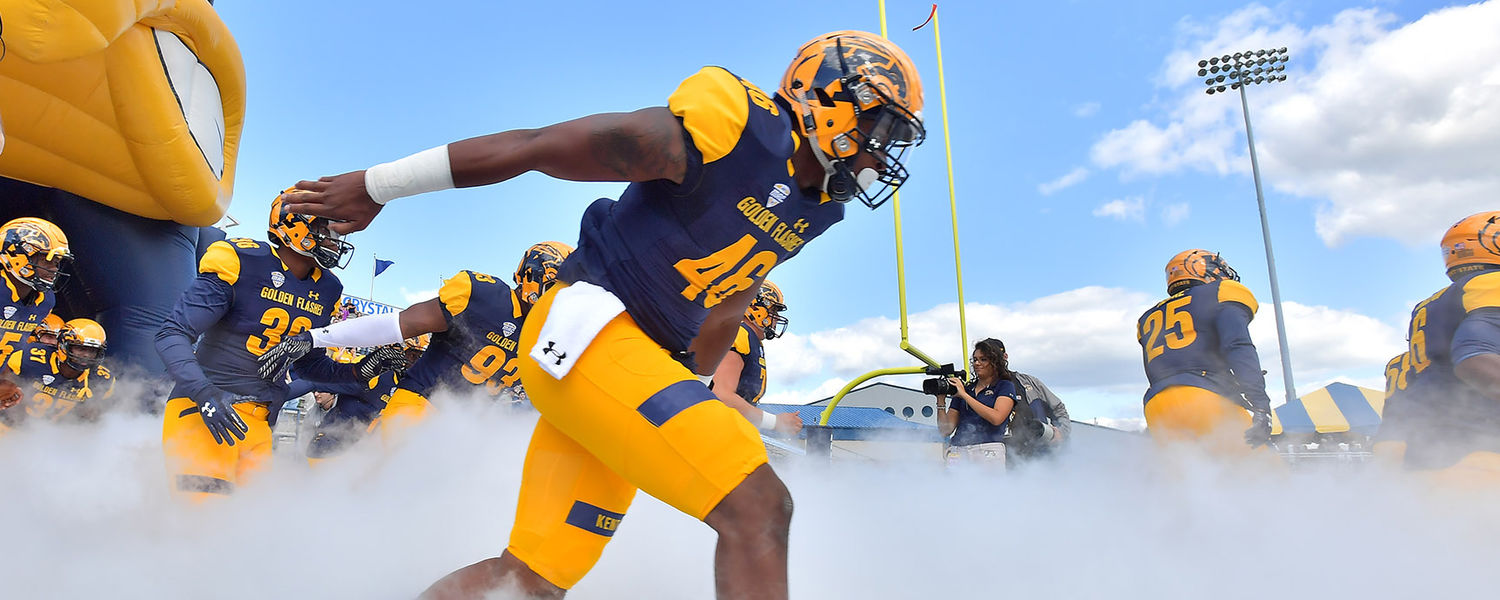 The Kent State Golden Flashes football team takes the field for the home opener of the 2017 football season against Howard University.