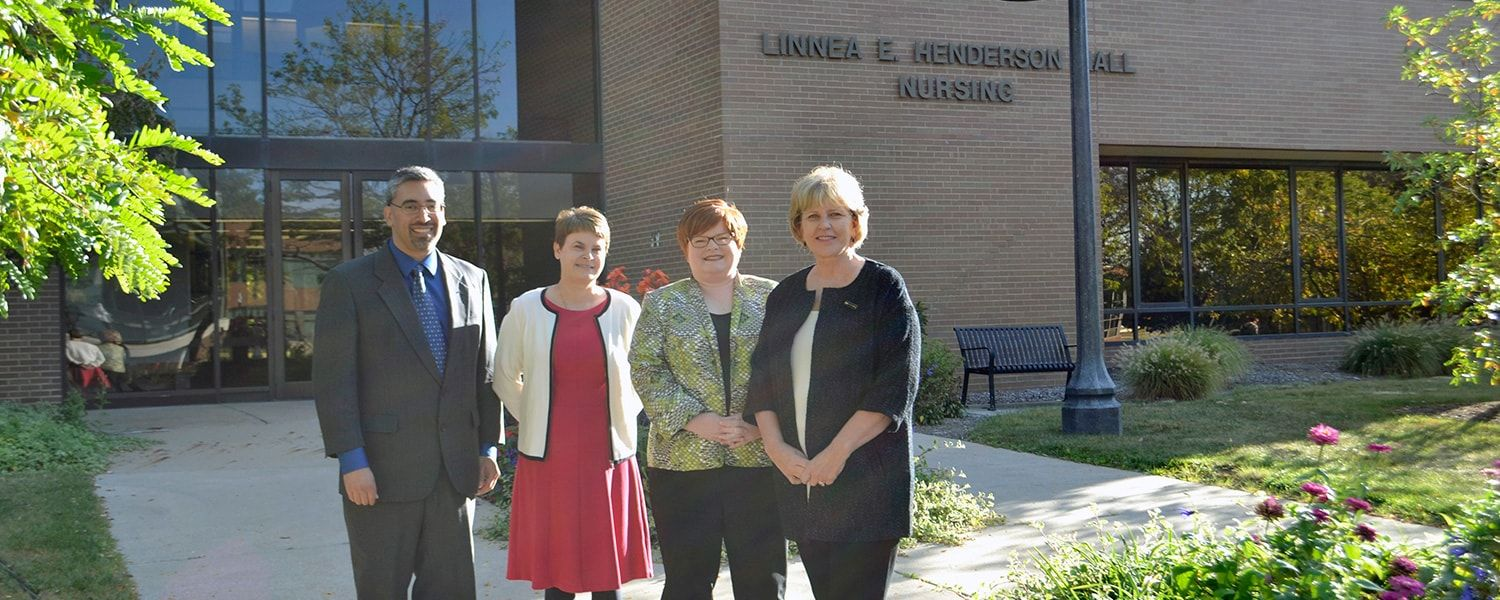 (From left) Mark Arredondo, M.D., Kimberly Williams, DSN, RN, Andrea Warner Stidham, Ph.D., MSN, RN, and Wendy Umberger, Ph.D., RN, PMHCNS-BC, were awarded a $1.1 million grant from the Health Resources and Services Administration (HRSA).