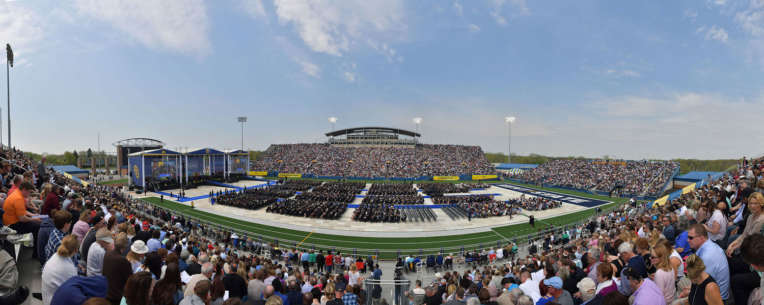 Dix Stadium is filled with graduating students, family and friends during Kent State's 2018 One University Commencement.