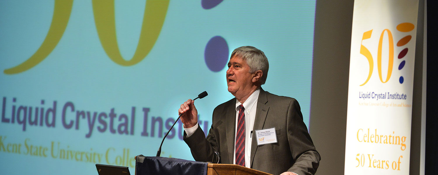 James Blank, Ph.D., dean of Kent State's College of Arts and Sciences, gives the   opening remarks during the Liquid Crystal Institute's 50th anniversary celebration.