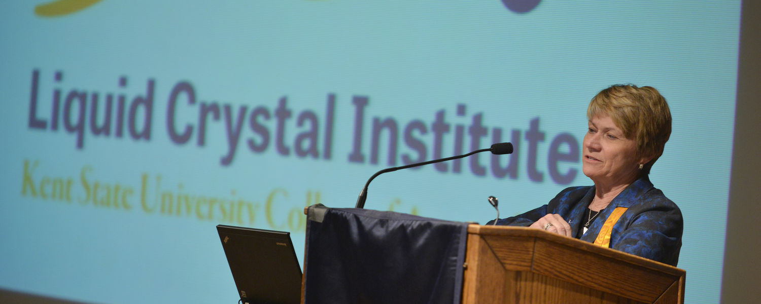 Kent State President Beverly Warren addresses the crowd during the opening   session of the Liquid Crystal Institute's 50th anniversary celebration.