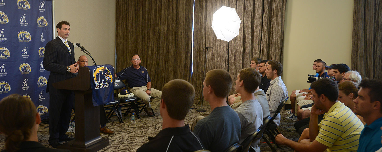 New Kent State head baseball coach Jeff Duncan speaks to the media and members of the baseball team during a press conference held at the Kent State University Hotel and Conference Center.