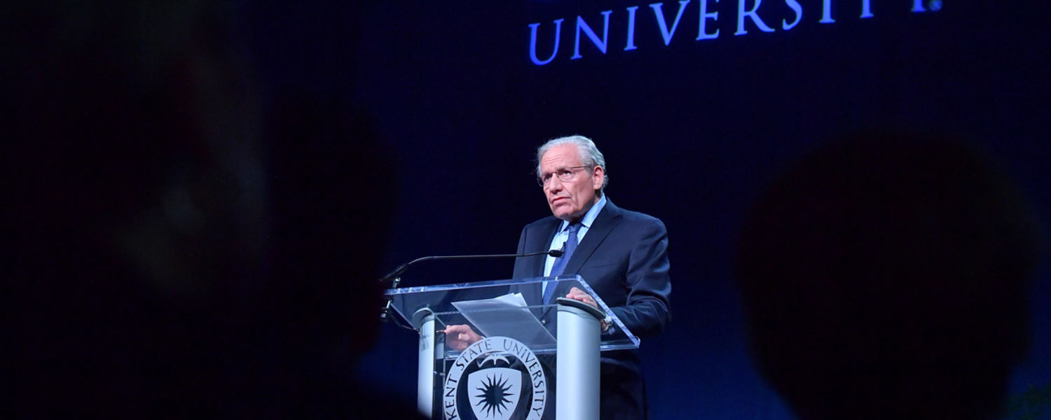 Legendary journalist Bob Woodward speaks to the crowd at the Memorial Athletic and Convocation Center during the Presidential Speaker Series held during the 49th annual May 4 Commemoration.