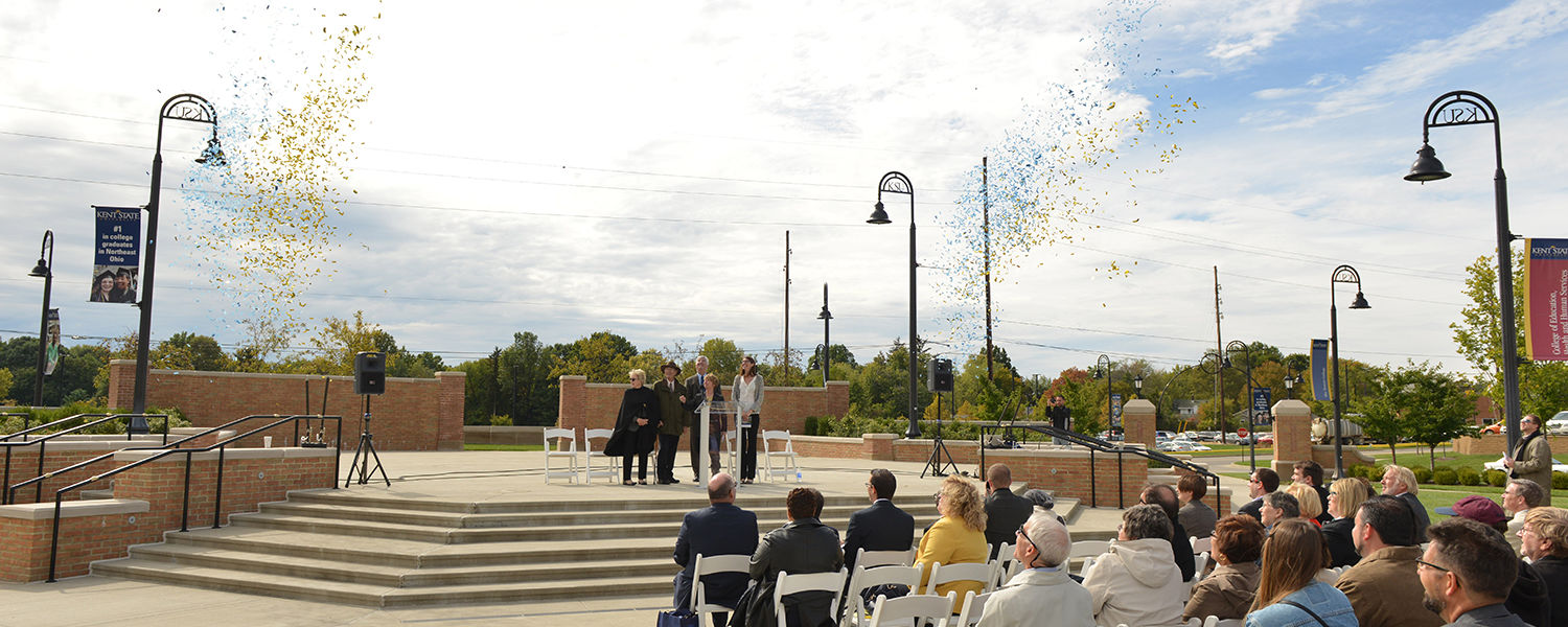 Confetti canons blow into the sky marking the close of the groundbreaking ceremony for the new Integrated Sciences Building.