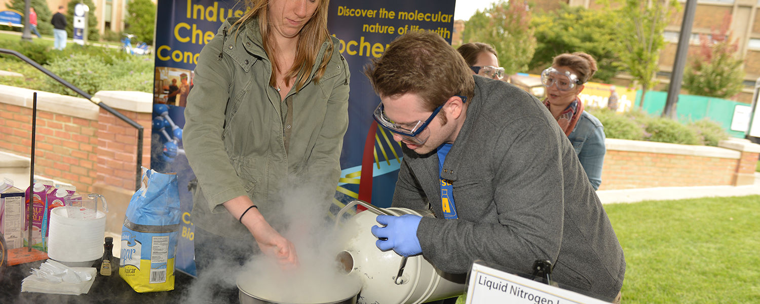 Kent State students from the College of Arts and Sciences make ice cream using liquid nitrogen as the cooling source.