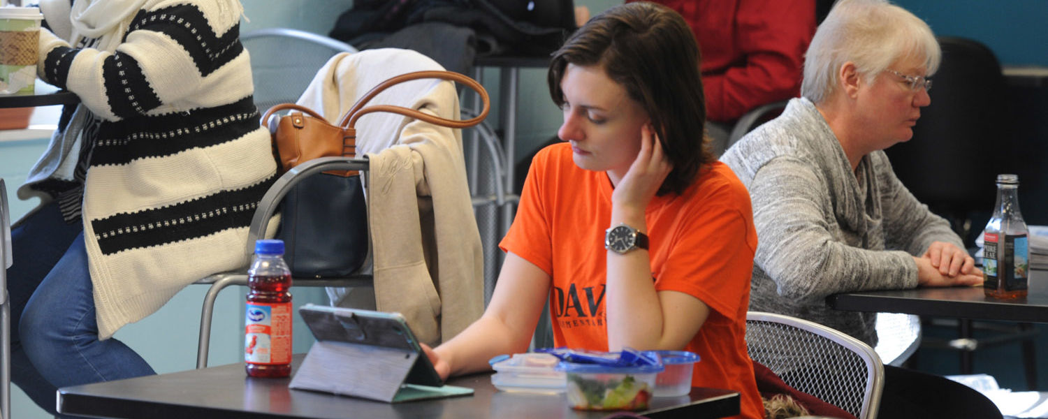 Kent State students study in the cafeteria in White Hall.