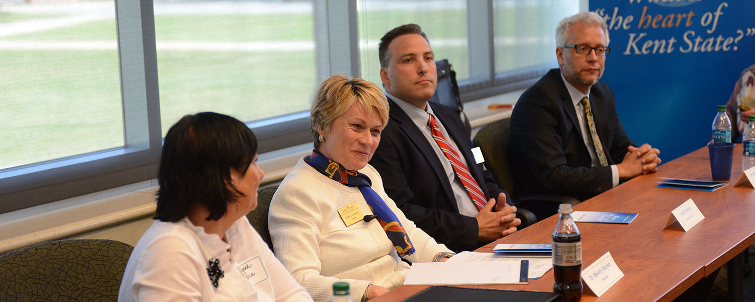 Kent State President Beverly Warren hears from members of the faculty and staff at the Ashtabula Campus during a listening session.