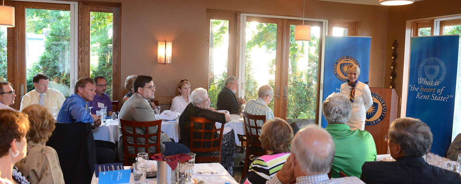 Kent State President Beverly Warren greets Kent State alumni at the Lakehouse Inn located in Geneva-on-the-Lake, Ohio, during the first day of the Presidential Listening tour.