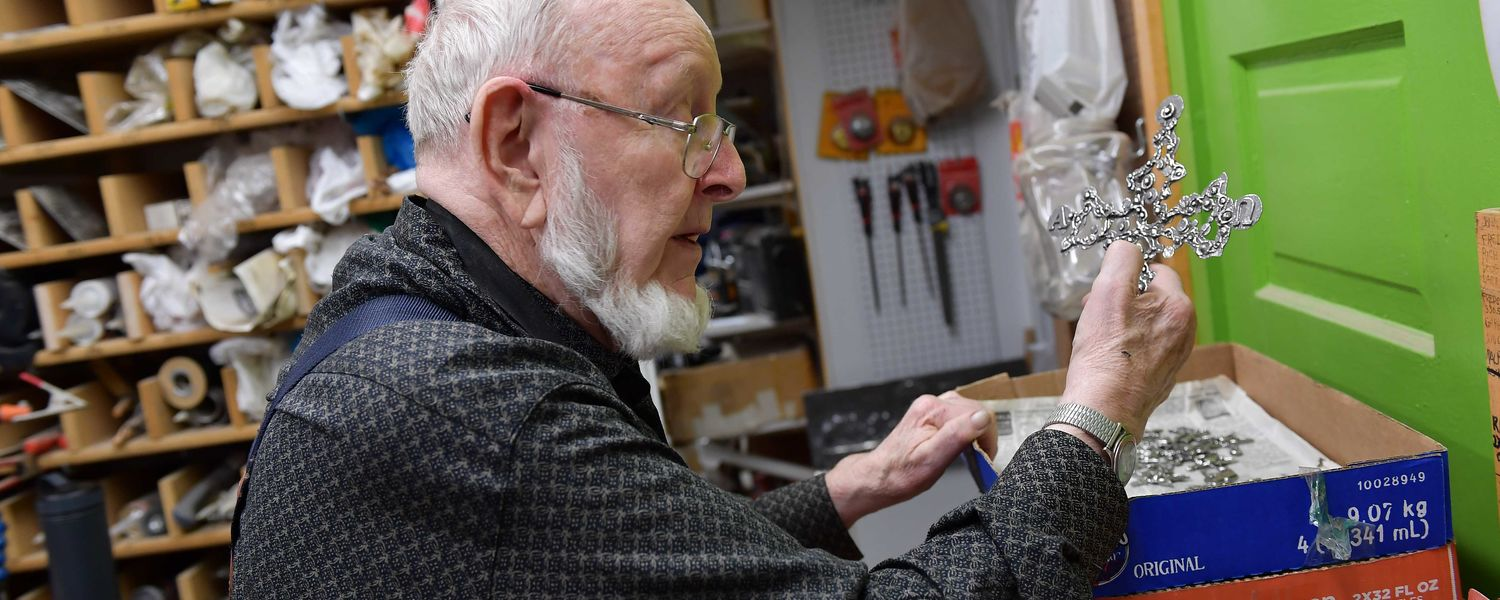 Artist Don Drumm works in his Akron studio.