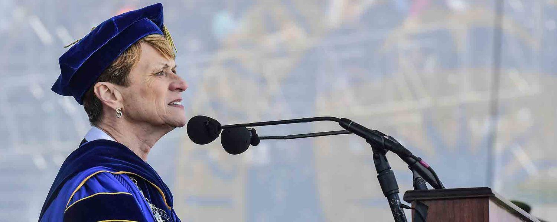Kent State President Beverly J. Warren addresses Kent State's newest graduates during her commencement speech.
