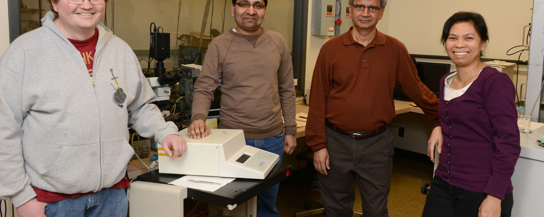 Satyendra Kumar's group (from L to R): Lewis Sharpnack, Gautam Singh, Ph.D., Satyendra Kumar, Ph.D., and Dena Mae Agra-Kooijman, Ph.D.