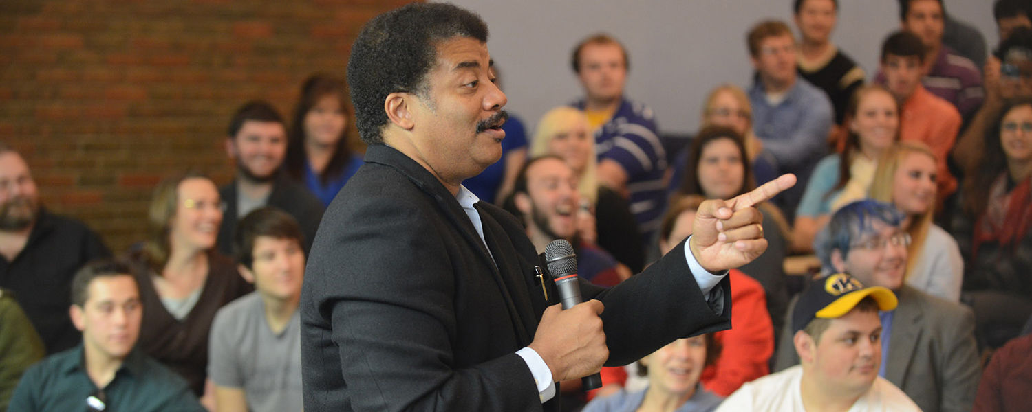 Neil deGrasse Tyson speaks with Kent State students in the planetarium at Smith  Hall in the afternoon of his Sept. 25 Kent State visit.