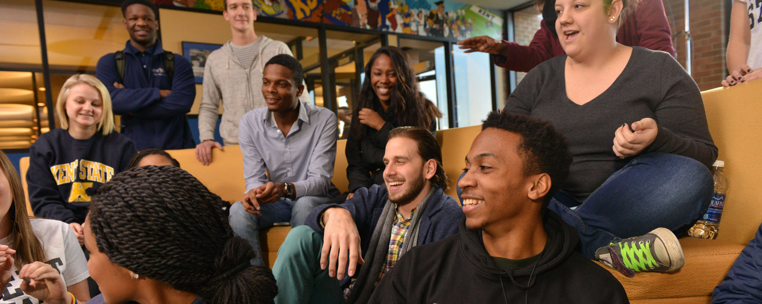"""Kent State students share a laugh in the Nest. On Giving Tuesday, Nov. 29, alumni, friends, faculty and staff are encouraged to take a moment to """"put your money where your heart is"""" with gifts supporting Kent State students."""