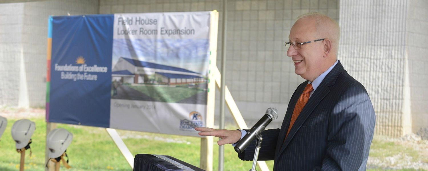 Kent State President Lester A. Lefton speaks during the groundbreaking for Kent State's Field House Locker Room project.