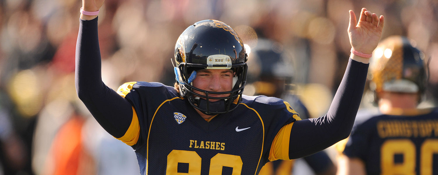 Kent State Golden Flashes long snapper Chad Bushley celebrates an extra point during the final home game against Ohio University.