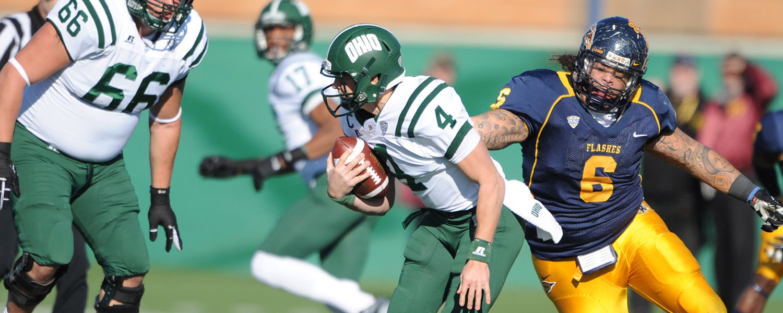 Defensive lineman Dana Brown takes down sacks the quarterback for Ohio University during the final home game.