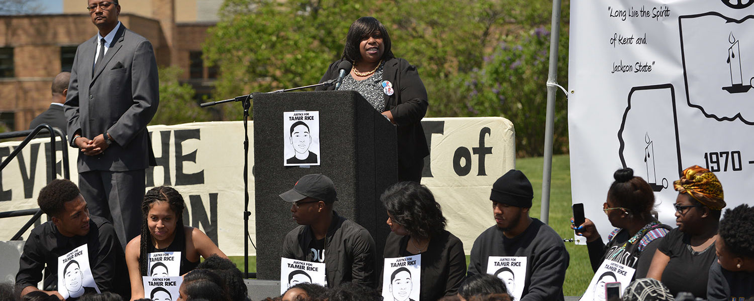 Samaria Rice, mother of Tamir Rice, gives the keynote speech during the 46th annual commemoration of May 4, 1970.