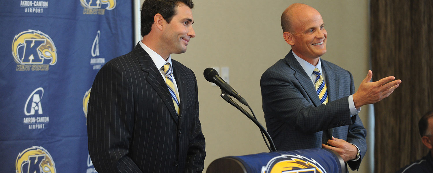 New Kent State head baseball coach Jeff Duncan (left) and Director of Athletics Joel Nielsen (right) answer questions during a press conference announcing Duncan as coach.