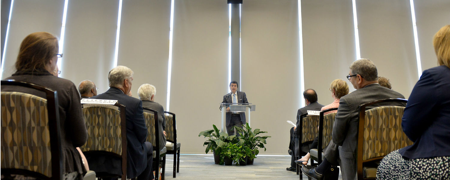 Gary Brahler, chair of the Kent State Foundation Board, speaks during the grand opening of the Center for Philanthropy and Alumni Engagement.