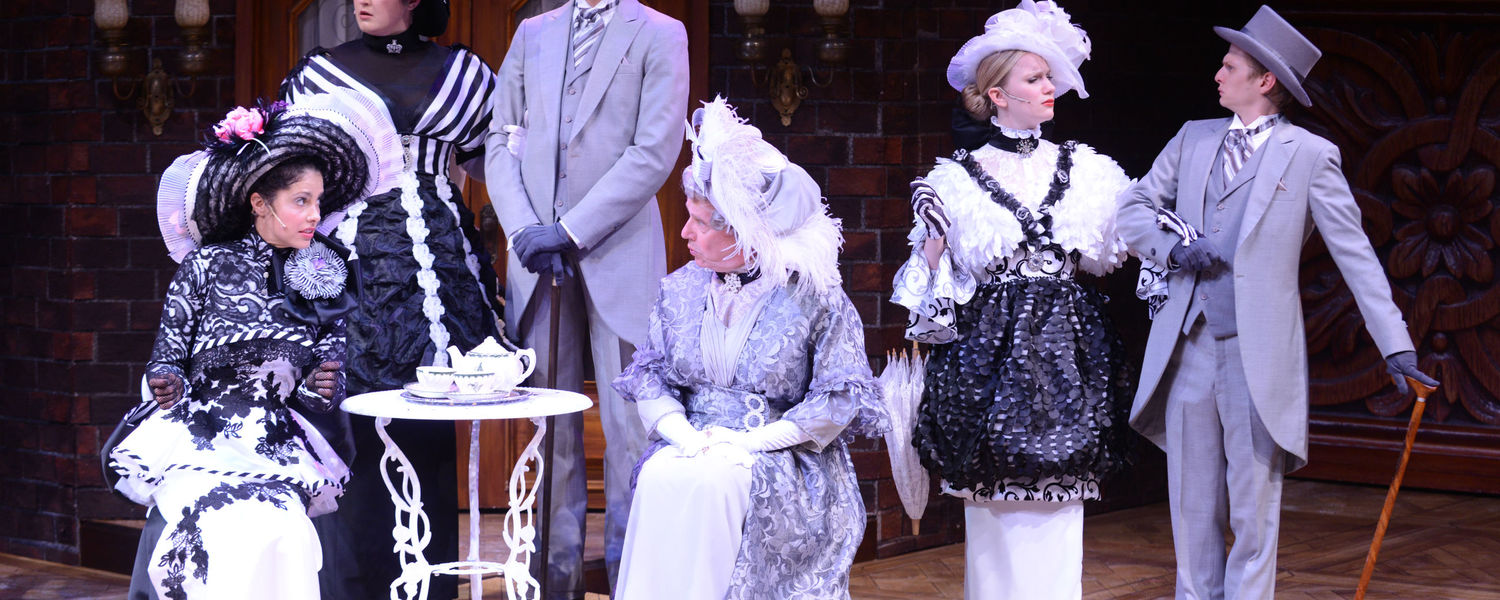 """Members of the """"My Fair Lady"""" cast in S.Q. Campbell's celebrated Ascot costumes"""