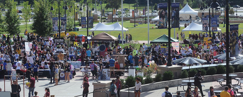 Crowds gather on Risman Plaza to enjoy the Black Squirrel Festival.