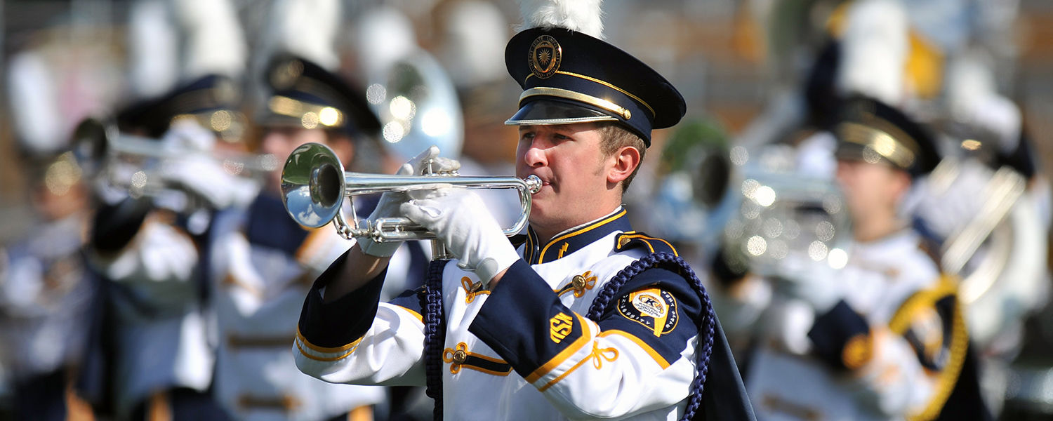 The Kent State University Marching Band performs during halftime at Dix Stadium.