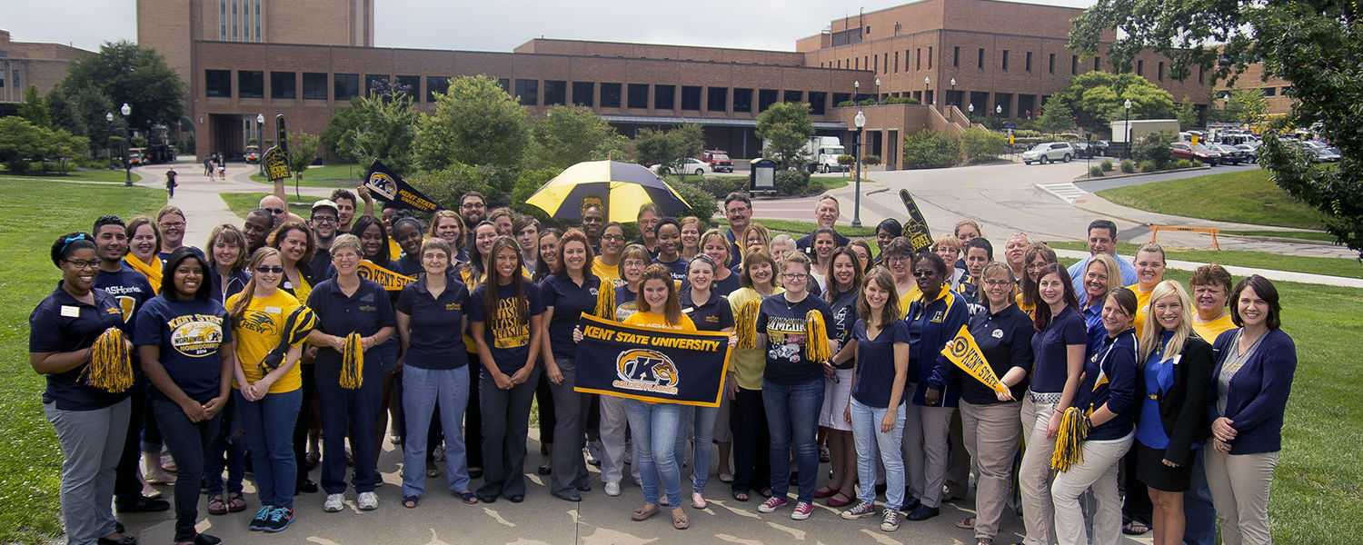 Kent State students and employees display their Kent State pride by wearing blue and gold. All are encouraged to wear the university's colors on Fridays for Blue and Gold Friday.