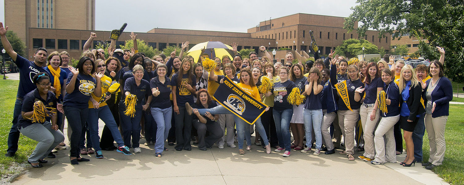 Members of the Kent State community are encouraged to show their Kent State pride by wearing blue and gold on Fridays.