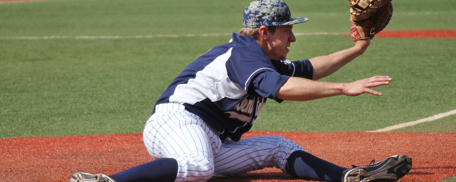Baseball.jpg Kent State first baseman Cody Koch comes off the bag to handle a throw during a game.