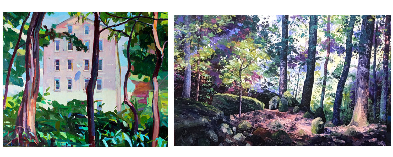 Charles Basham, The Oval, oil on canvas, 2017 (left), Eileen Dorsey, Whipps Ledges I, Oil on canvas, 2018 (right)