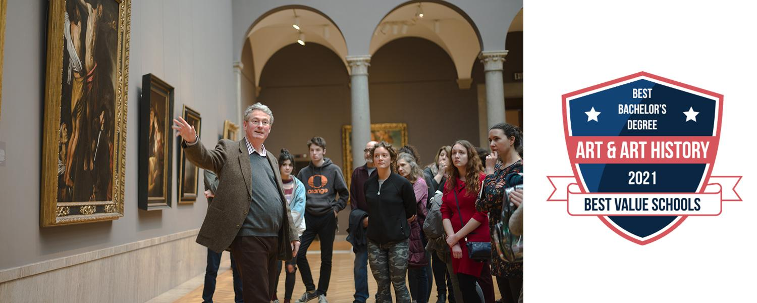 A professor and students discussing artwork in a gallery at the Cleveland Museum of Art with the shield that states Best Value Schools, Best Bachelor's in Art and Art History 2021