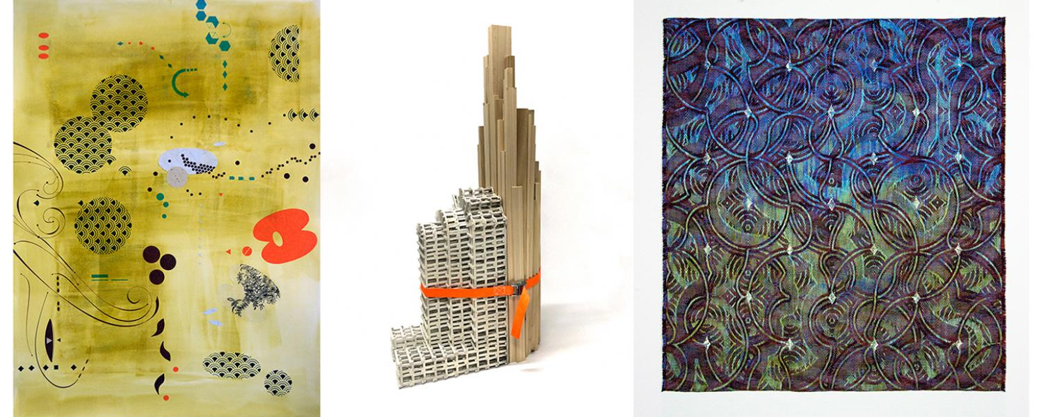 Artwork for the biennial faculty show in 2021. Yellow print, ceramics sculpture and woven textile pieces.