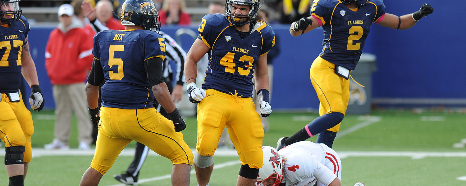 The Kent State Golden Flashes defense comes up with a big play during a home game at Dix Stadium.