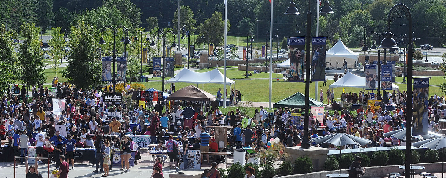 Kent State students attend the 32nd Annual Black Squirrel Festival on Risman Plaza and the Student Green.