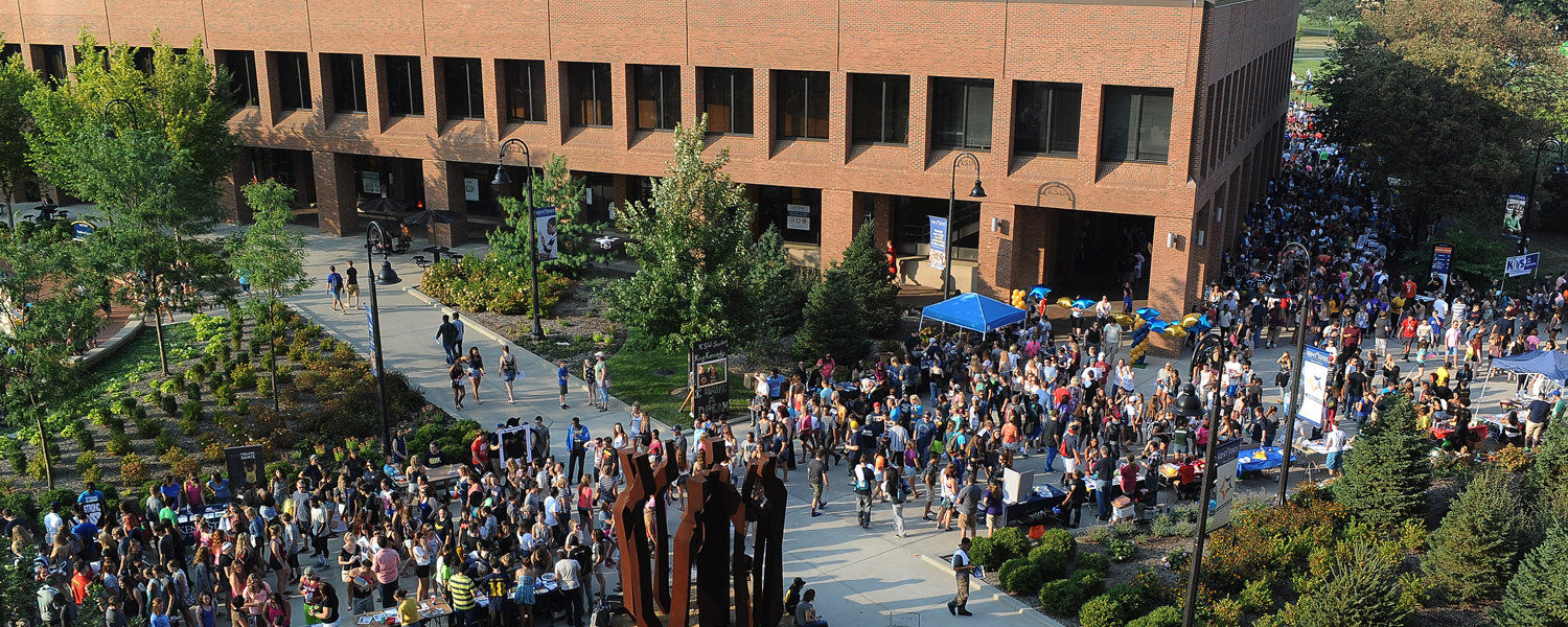 Thousands of Kent State students work their way through Risman Plaza during Blastoff, the annual back-to-school celebration at Kent State.