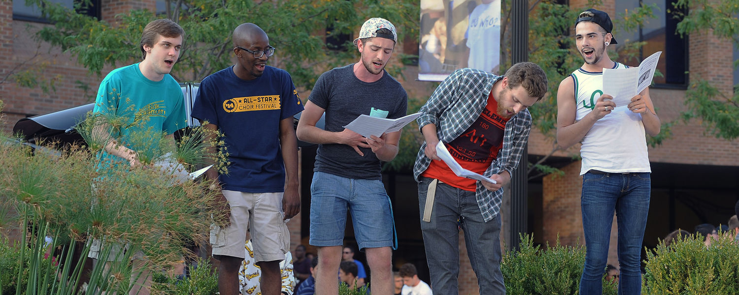 The Kent State Men's Chorus performs in Risman Plaza during Blastoff, the annual back-to-school celebration.